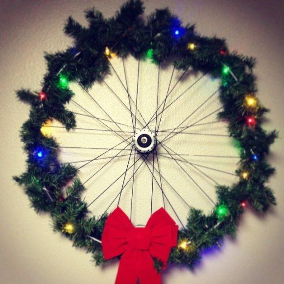 Diy Bike Wheel Christmas Wreath
