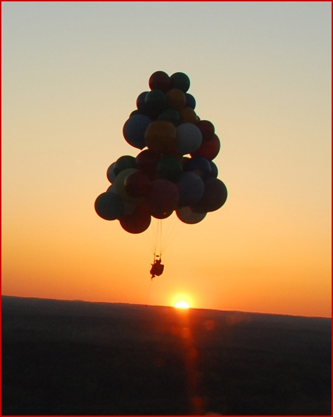 Jonathan Trappe Attempts Cluster Balloon Flight Record